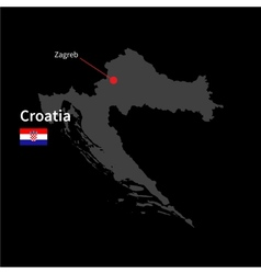 Detailed map of Croatia and capital city Zagreb vector image vector image
