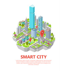 isometric smart city 3d vector image