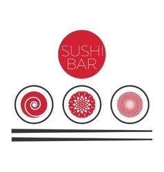 Abstract sushi bar food logo template vector image vector image