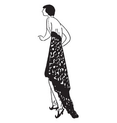 Dress drapes in the back and long pants vintage vector
