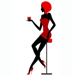 Girl sits in bar with glass in hand vector image vector image