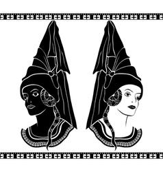 Ladies in medieval hats stencil vector image vector image
