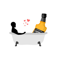 lover alcohol drink man and bottle of whiskey in vector image