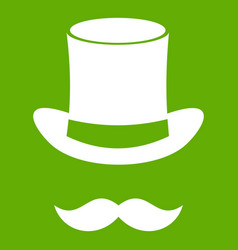 magic black hat and mustache icon green vector image