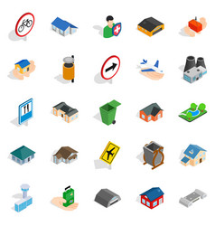 regional center icons set isometric style vector image