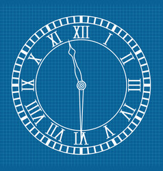 roman numeral clock icon blueprint background vector image
