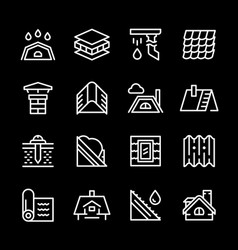 set line icons of roof vector image vector image