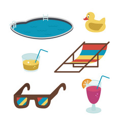 summer icons flat-style drinks glasses vector image vector image