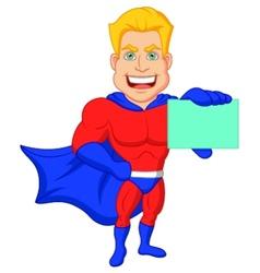 Superhero cartoon holding name card vector image