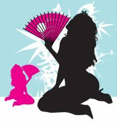 tropical fan girl vector image vector image