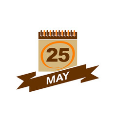 25 may calendar with ribbon vector image