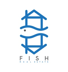 Abstract design template of fish real estate vector