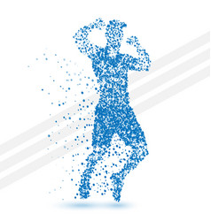 Abstract jumping winner man made of particles vector