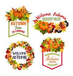Autumn welcome fall leaf acorn icons vector