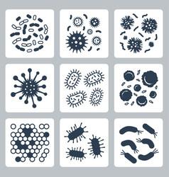 Bacteria microbes icon set vector