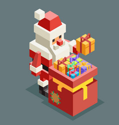 Bag gift santa claus isometric grandfather vector