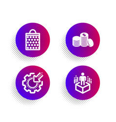 Banking money shopping bag and seo gear icons set vector