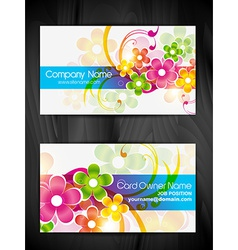 beautiful floral design business card design vector image