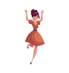 Beautiful young woman jumping from happiness vector