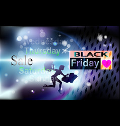 black friday girl background sale for banner vector image
