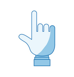 blue color shading silhouette hand pointing to vector image