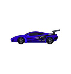Blue racing car with tinted windows and spoiler vector