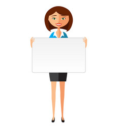 business woman in the suit holding blank sign vector image