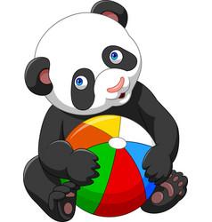 cartoon baby panda playing with colorful ball vector image