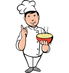 Cartoon Chef cook with bowl of soup vector image vector image