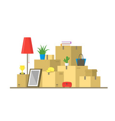 cartoon color pile boxes moving concept vector image