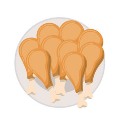 chicken thighs on dish in colorful silhouette on vector image