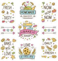 Colorful doodle bakery logo and ornament vector