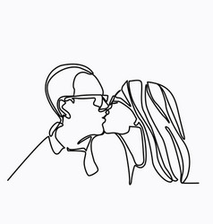 Continuous line drawing of kissing couple a man vector