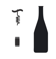 Cork and corkscrew icon with bottle vector