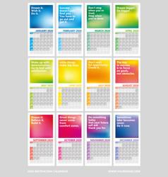 Creative wall calendar 2020 with rainbow design vector