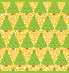 cute christmas trees with a face background vector image