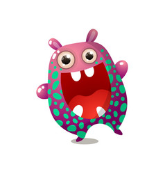 cute funny monster pink red color with big mouth vector image
