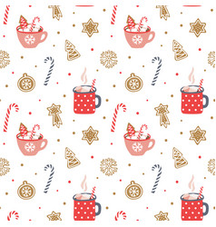 cute hand drawn seamless pattern cozy christmas vector image