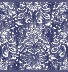 Damask indigo navy dyed effect worn navy pattern vector