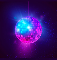 Disco ball with bright rays and bokeh music and vector