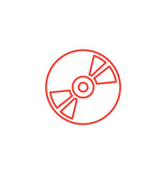 dvd or cd line red icon on white background red vector image