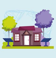 eco energy sustainable solar panels house outside vector image