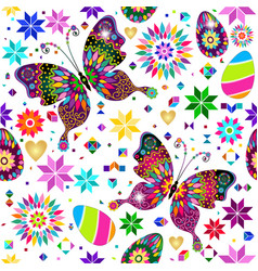 festive bright easter pattern with butterflies vector image