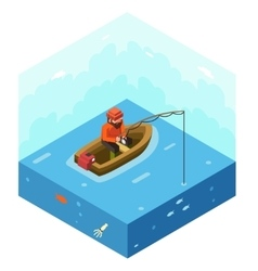 Fisherman with Fishing Rod Polygonal Character in vector image