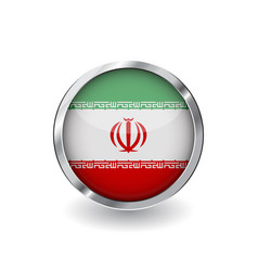 flag of iran button with metal frame and shadow vector image
