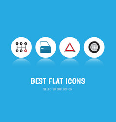 Flat icon auto set of carrying warning vector