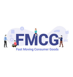 Fmcg fast moving consumer goods concept with big vector