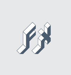 fx - 2-letter code f and x - monogram or logotype vector image
