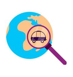 Globe car vehicle transportation car automotive vector