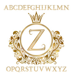 golden patterned letters with initial monogram vector image
